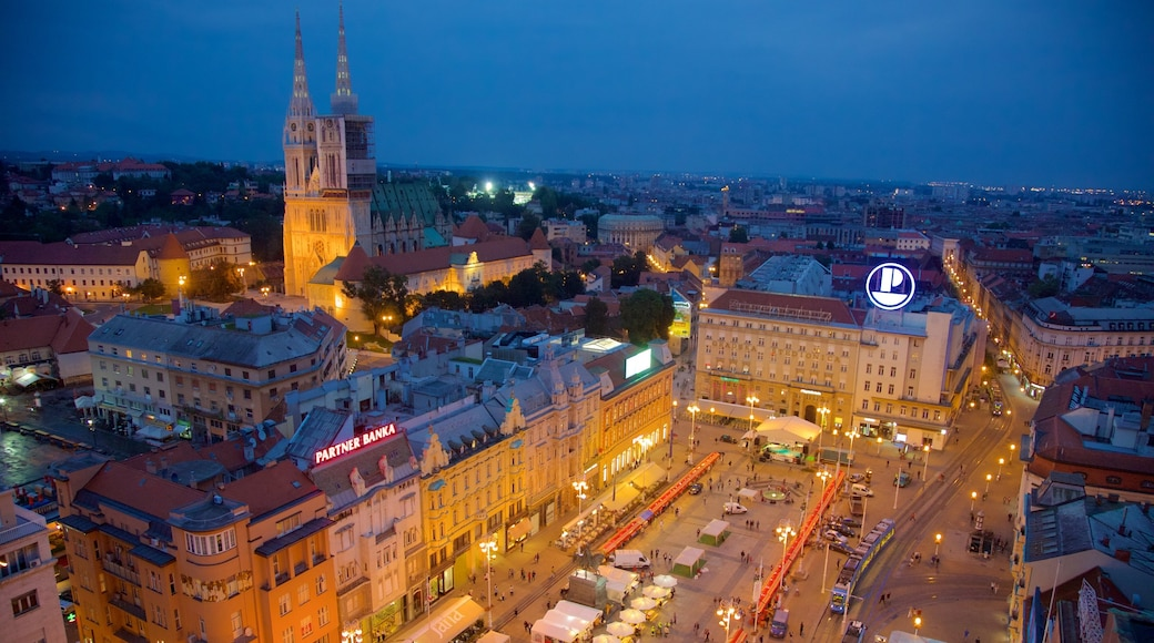 Ban Jelacic Square which includes night scenes and a city