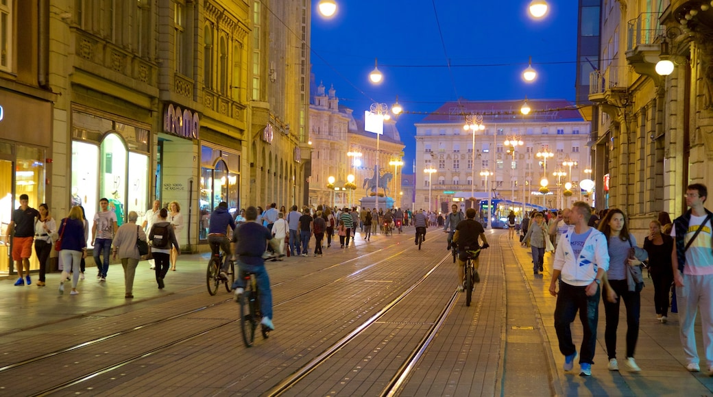 Zagreb County featuring street scenes, nightlife and railway items