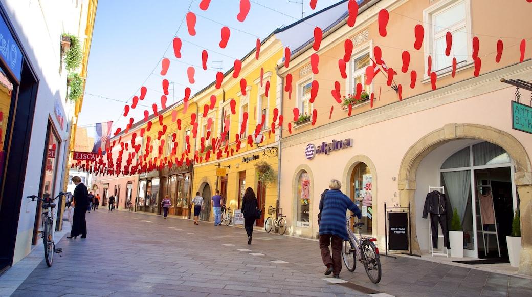 Varazdin featuring street scenes