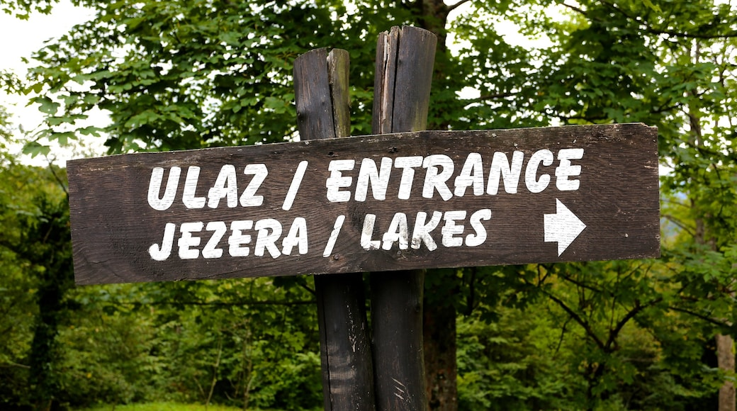 Plitvice Lakes National Park - Entrance 1 which includes signage