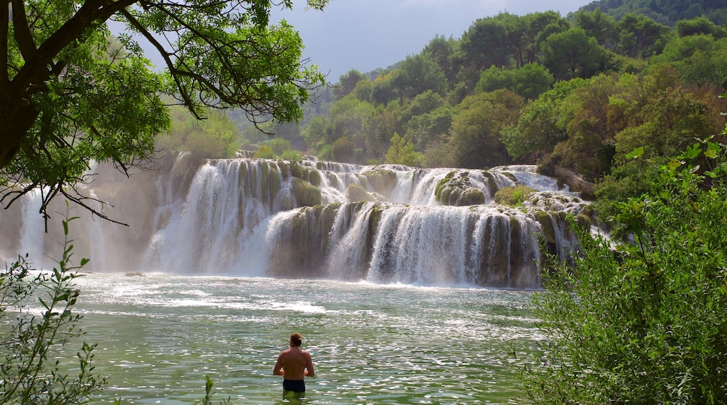 Krka National Park showing a lake or waterhole and rapids as well as an individual male