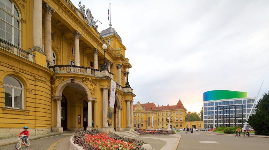 Teatro Nacional Croata ofreciendo arquitectura patrimonial