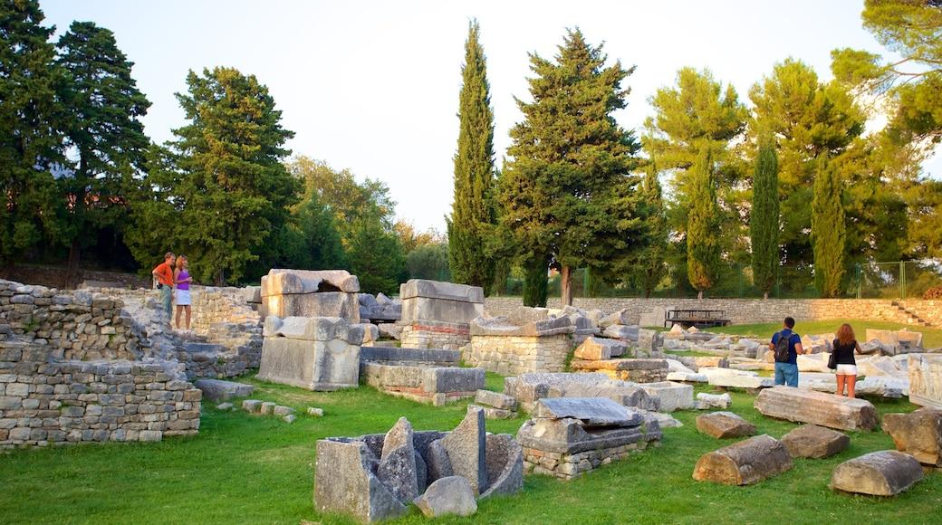 Ruines de Salone mettant en vedette patrimoine historique et bâtiments en ruines aussi bien que petit groupe de personnes