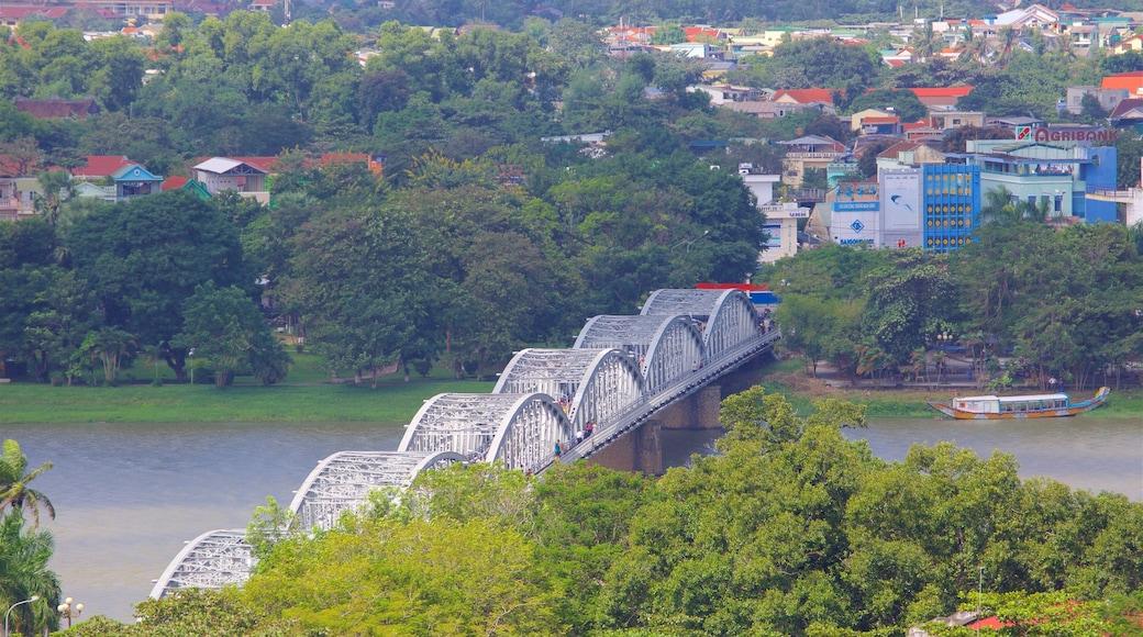 Hue showing a city, a bridge and a river or creek