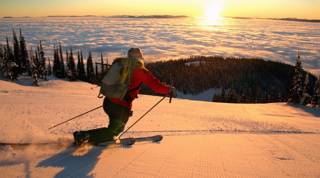 Montana which includes snow, a sunset and snow skiing