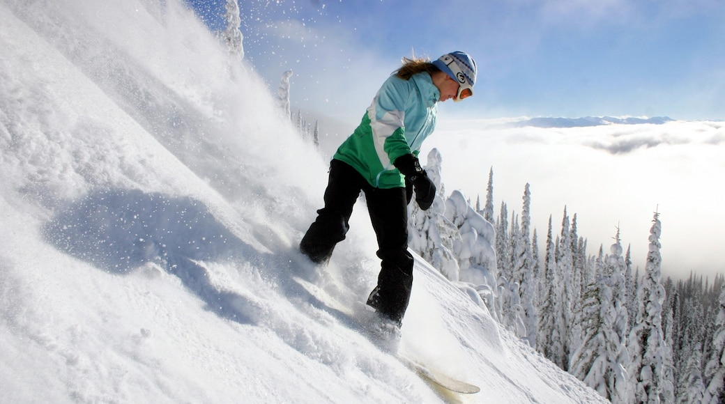 Whitefish which includes snow and snow boarding as well as an individual femail