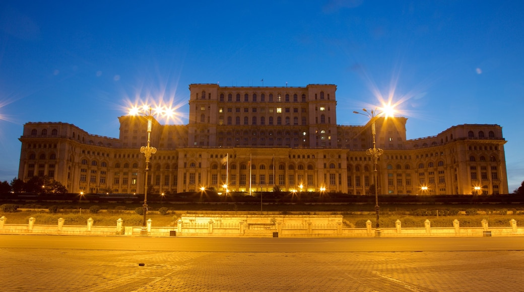 Palace of the Parliament showing an administrative buidling, heritage architecture and night scenes