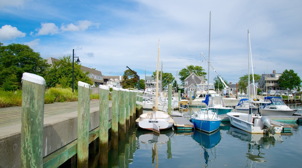 Hyannis showing a marina and a bay or harbor