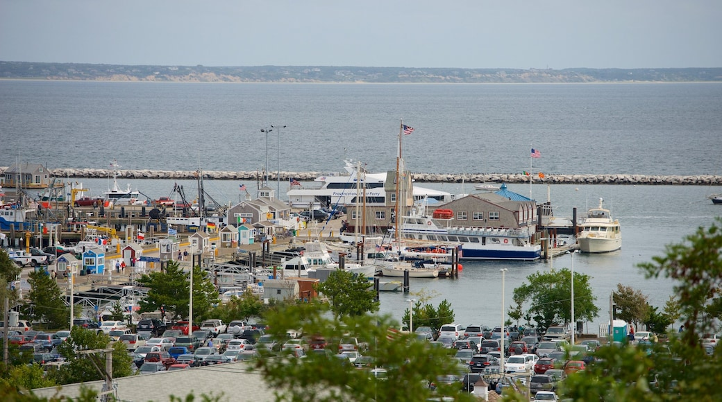 Pilgrim Monument which includes a bay or harbor
