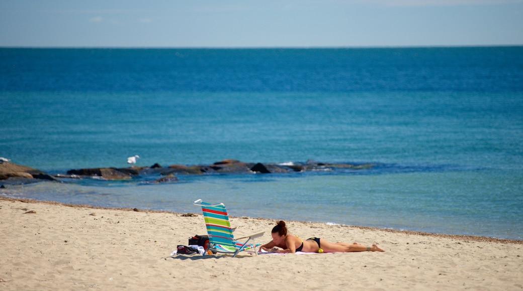 Surf Drive Beach featuring a sandy beach as well as an individual femail