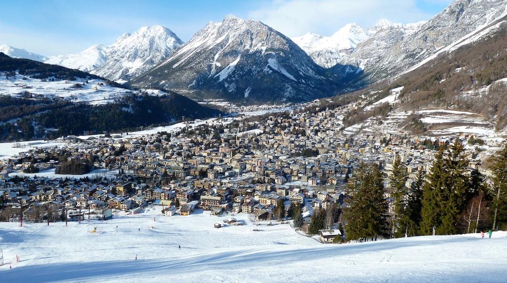 Bormio som viser liten by eller landsby, fjell og snø