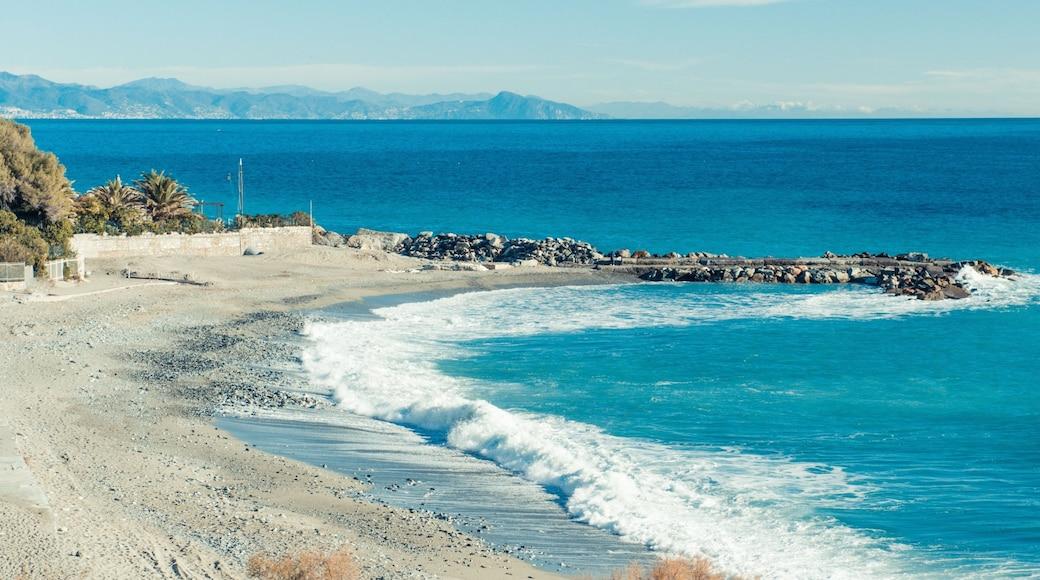 Varazze mostrando spiaggia di ciottoli