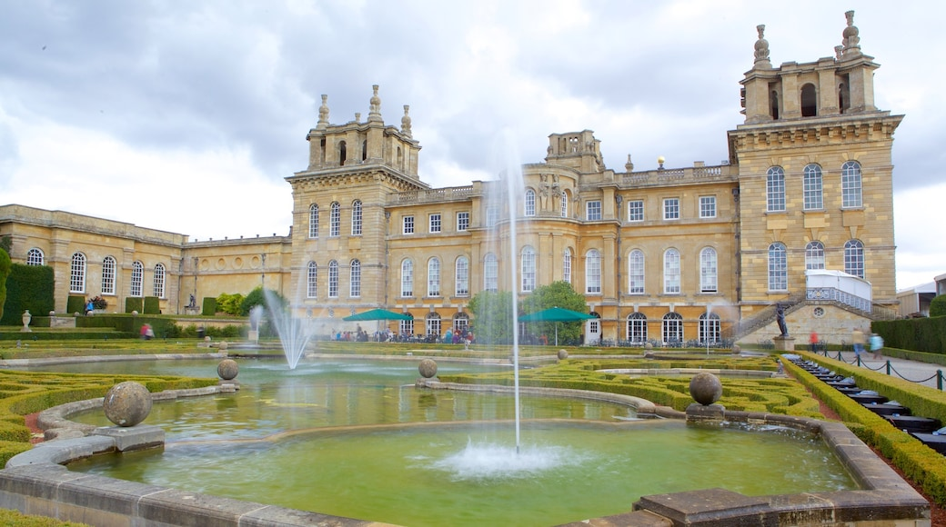 Blenheim Palace showing heritage elements, a fountain and a garden