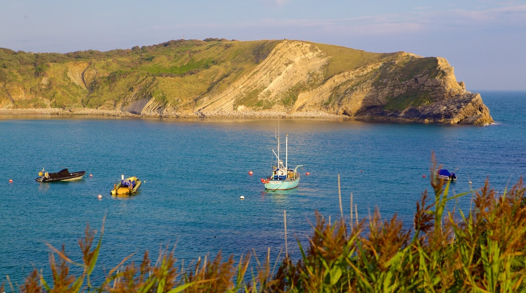 Lulworth Cove Beach featuring boating and a bay or harbour