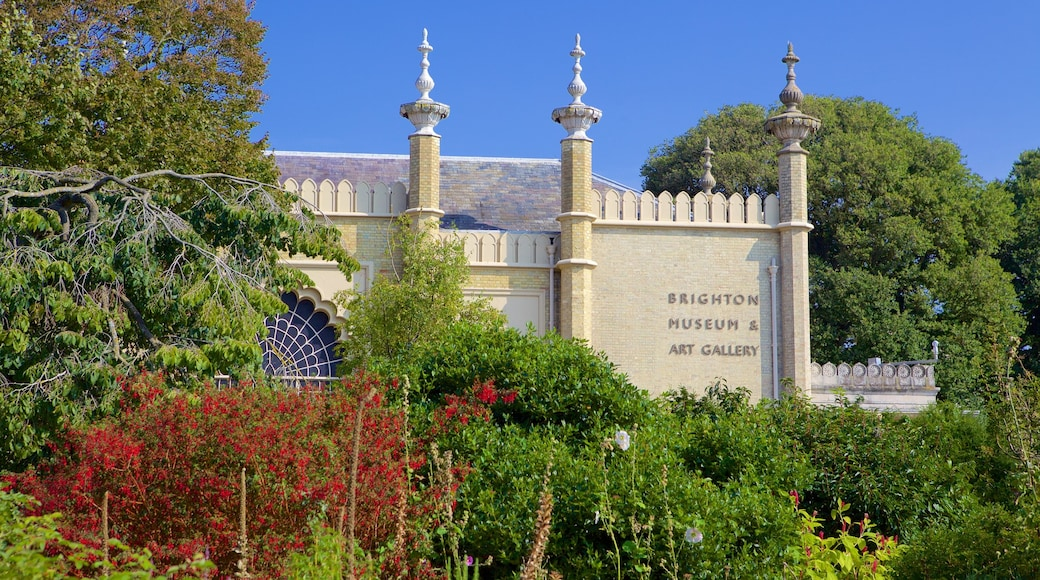 Brighton Museum and Art Gallery featuring a garden, heritage elements and heritage architecture