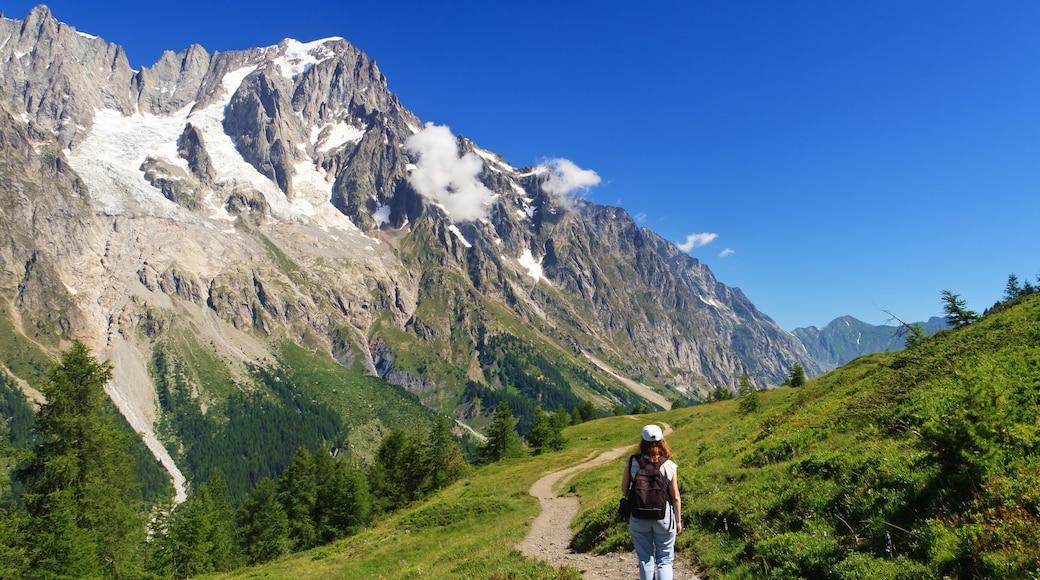 Courmayeur welches beinhaltet Wandern oder Spazieren und Berge sowie einzelne Frau
