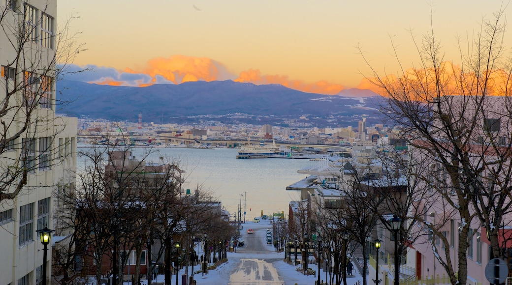 Hakodate showing street scenes and a sunset
