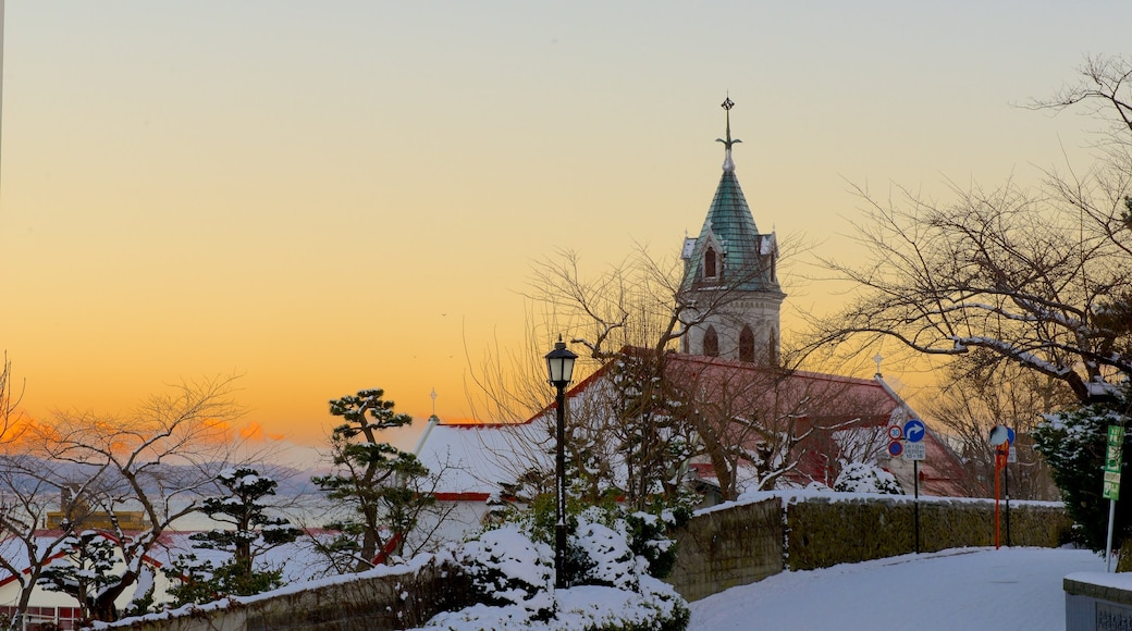 Hakodate showing heritage elements and a sunset