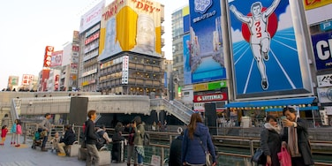 Dotonbori which includes cbd and outdoor art as well as a large group of people