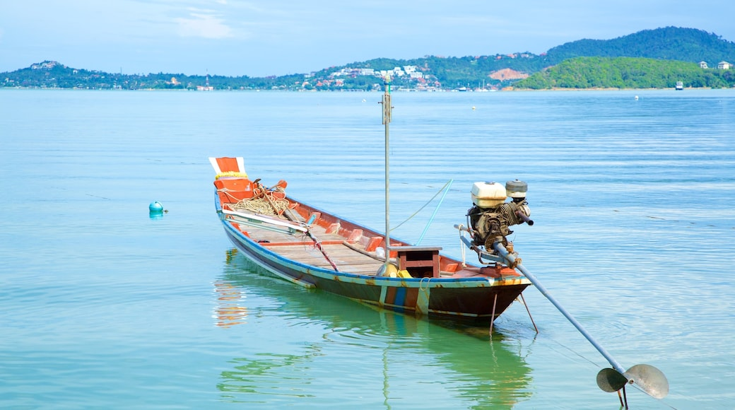 Bo Phut Beach toont algemene kustgezichten en kajakken of kanoën