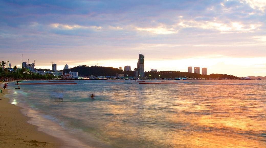 Pattaya Beach showing a sunset and a sandy beach