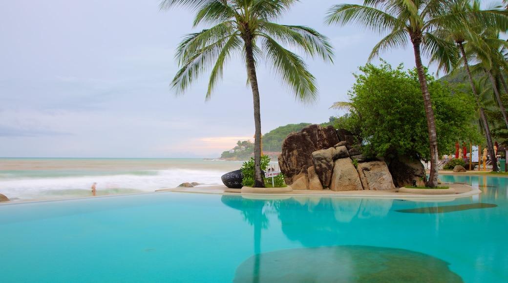 Silver Beach toont een zwembad, een luxueus hotel of resort en algemene kustgezichten