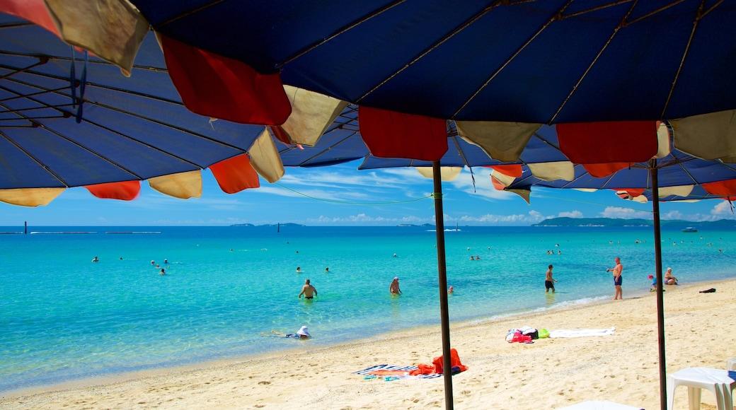หาดแสม เนื้อเรื่องที่ ว่ายน้ำ, ชายฝั่งทะเล และ หาดทราย