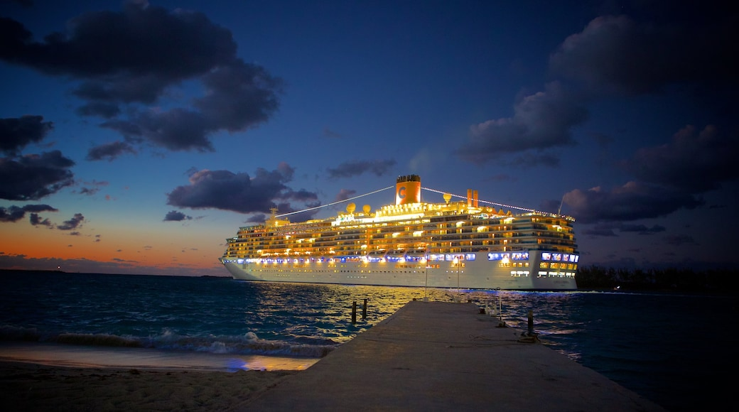 Nassau which includes night scenes, general coastal views and cruising