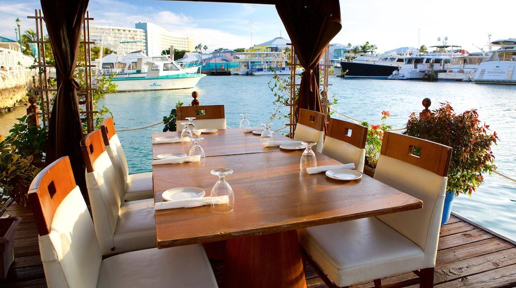 Freeport mostrando jantar fora, paisagens litorâneas e jantar ao ar livre