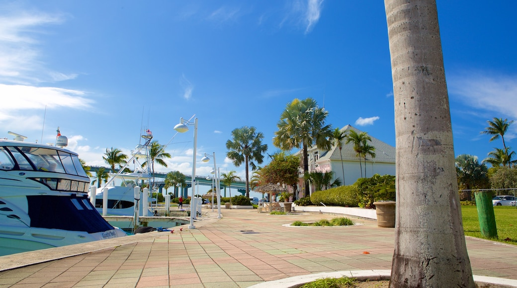 Paradise Island which includes a marina, tropical scenes and general coastal views
