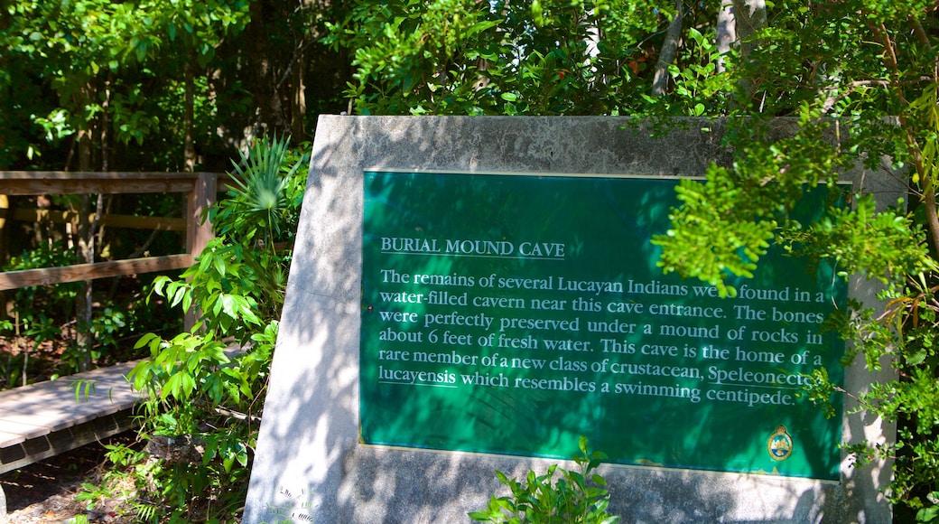 Burial Mound Cave mostrando sinalização