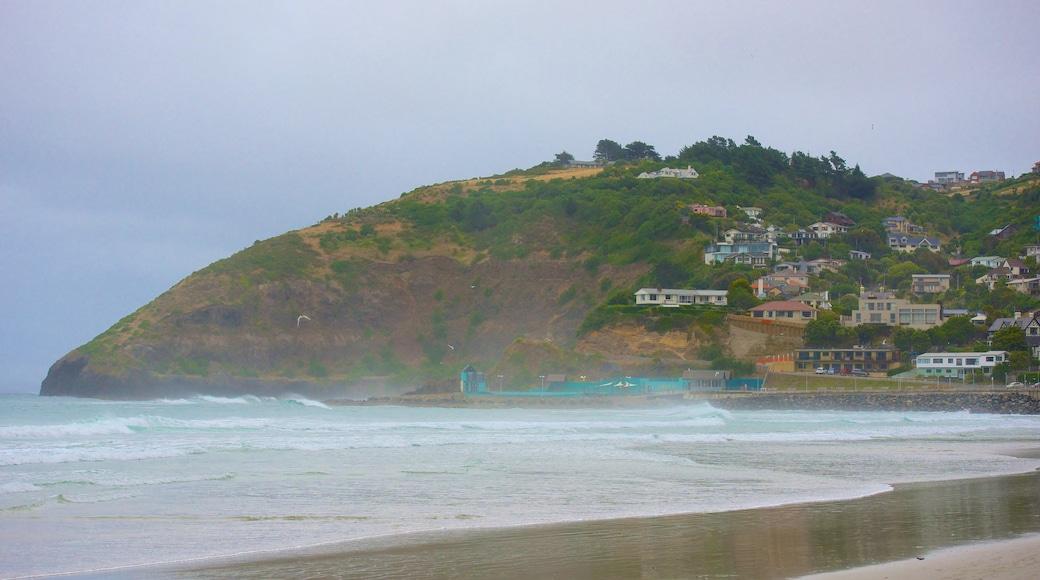 St. Clair Beach which includes a sandy beach, a coastal town and mist or fog