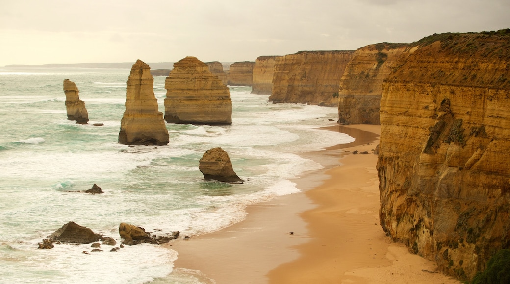 Twelve Apostles featuring rugged coastline and a gorge or canyon