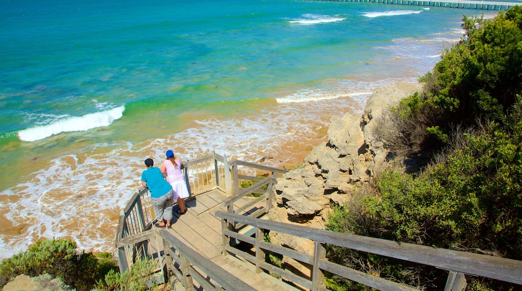Point Lonsdale showing general coastal views and views as well as a small group of people