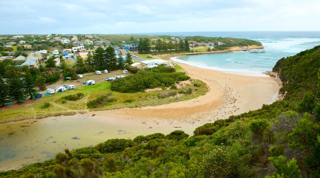 Port Campbell showing landscape views and a coastal town