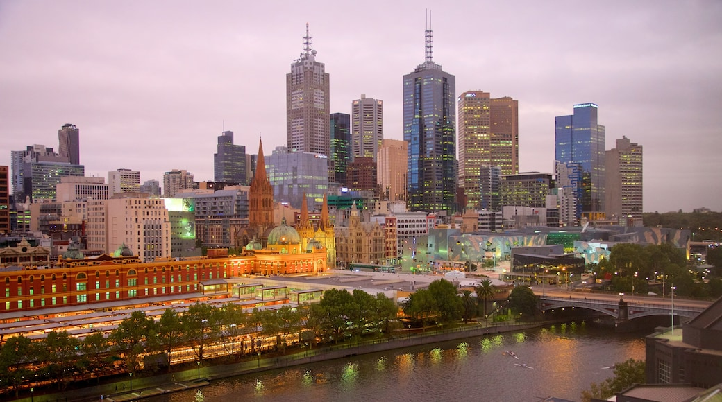Melbourne CBD featuring night scenes, city views and a high rise building