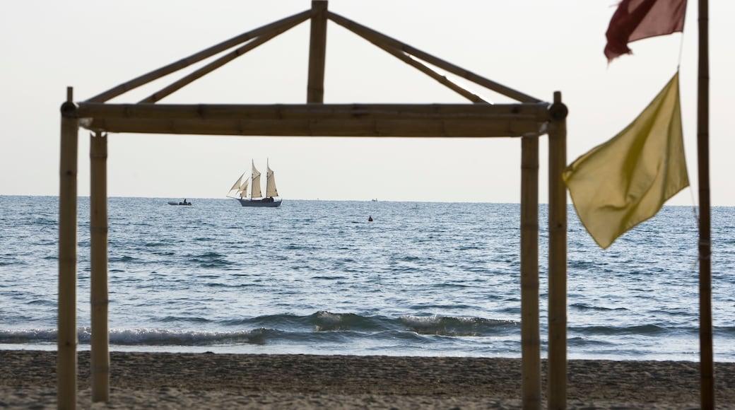 Forte dei Marmi mostrando vista della costa e barca a vela