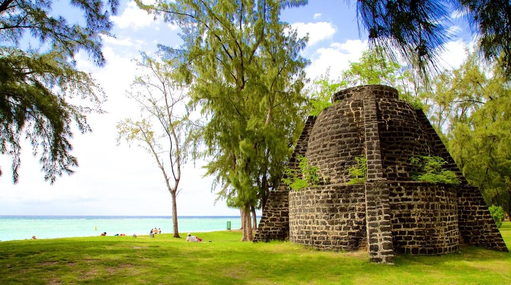 Flic-en-Flac featuring building ruins and general coastal views
