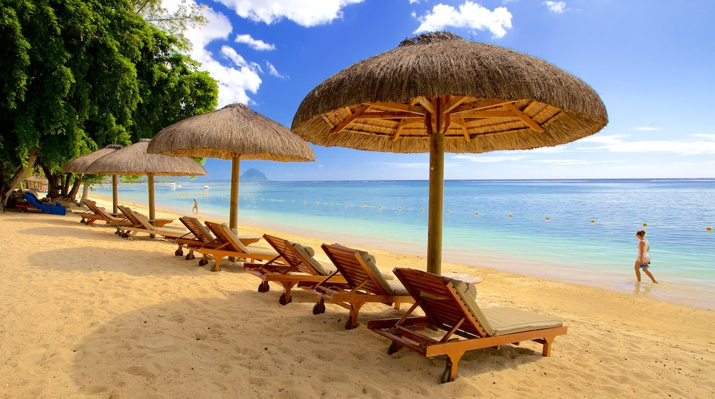 Flic-en-Flac featuring a luxury hotel or resort and a sandy beach as well as an individual female