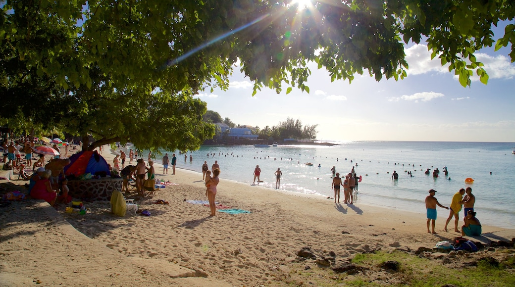 Mauritius which includes a beach as well as a small group of people
