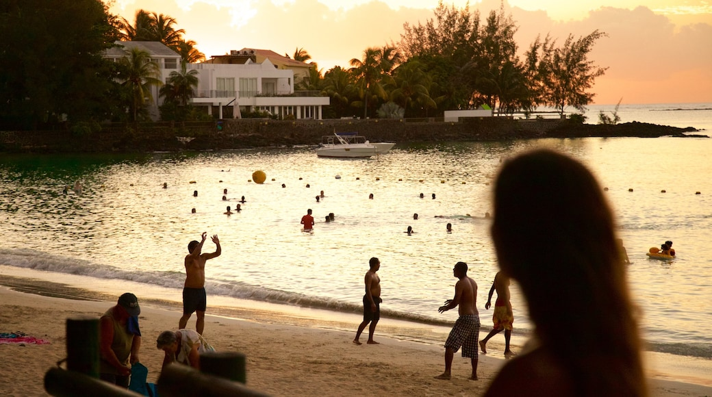 Mauritius showing a beach and a sunset