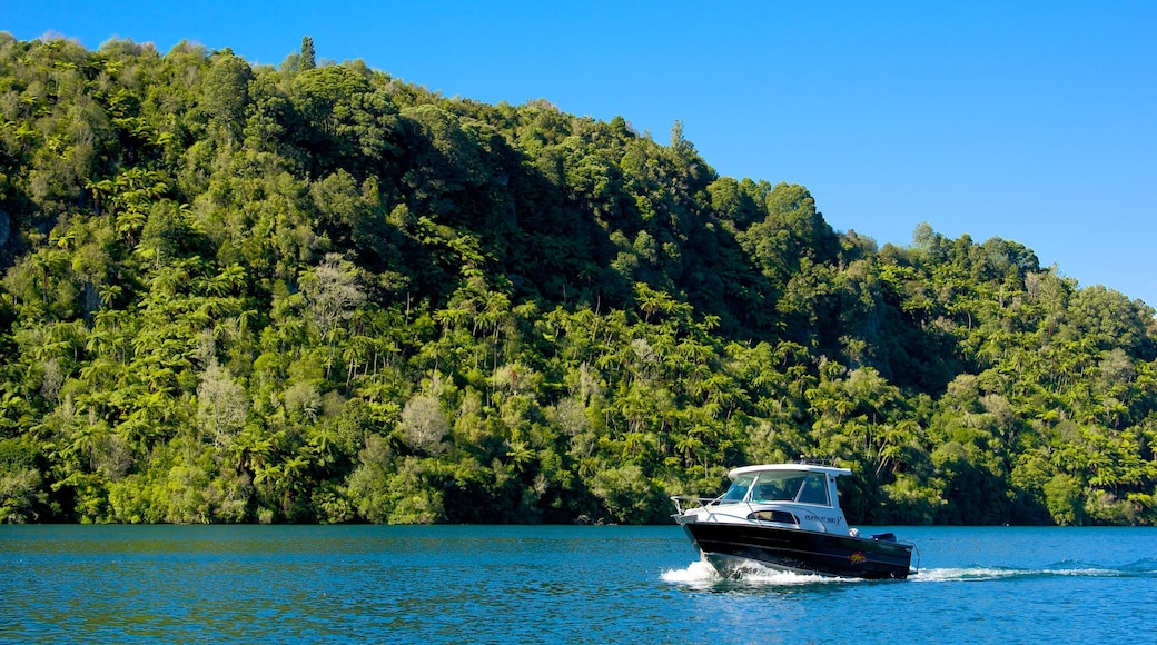 Lake Tarawera which includes a lake or waterhole and boating