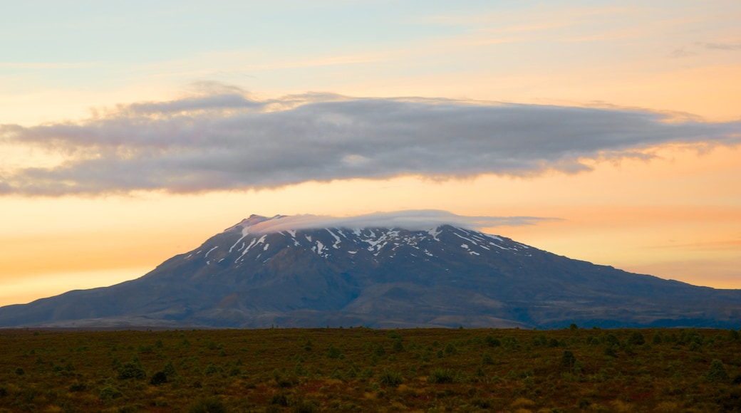 Tongariro National Park featuring mountains and a sunset