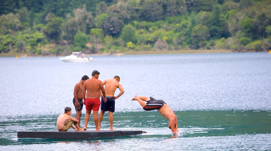 Rotorua showing a lake or waterhole as well as a small group of people