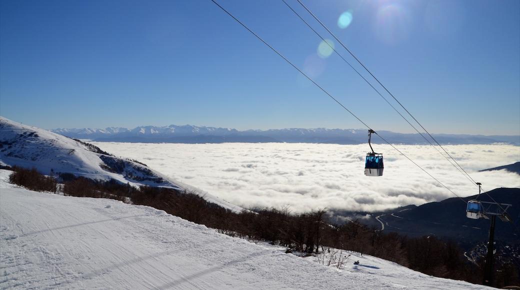 Bariloche which includes a gondola, snow and landscape views