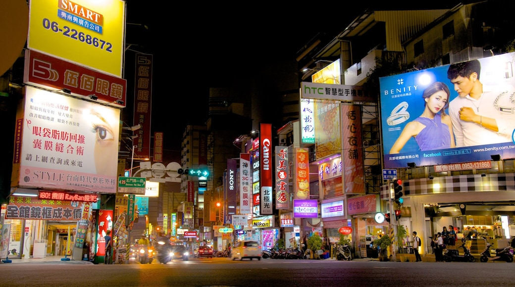 Tainan showing cbd, a city and signage