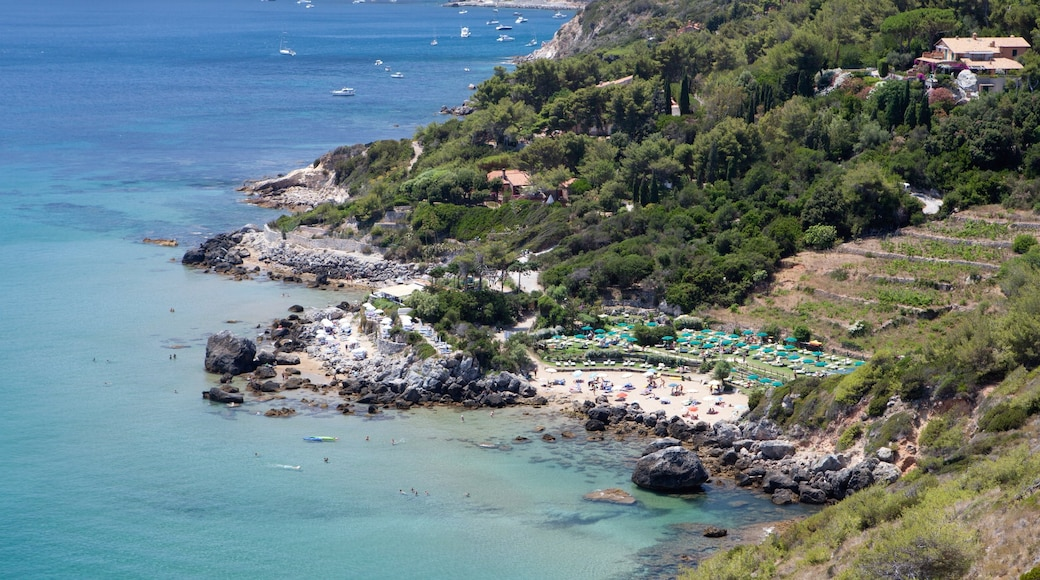 Isola del Giglio mostrando costa rocciosa e vista della costa