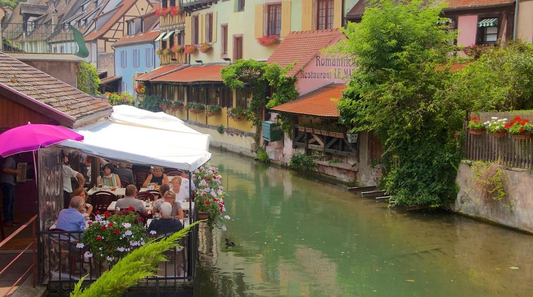 Colmar montrant rivière ou ruisseau, sortie au restaurant et patrimoine historique
