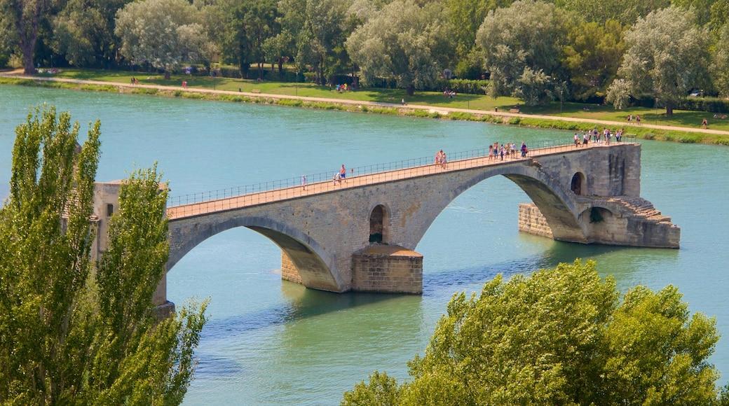 Pont Saint-Bénézet welches beinhaltet Brücke, Geschichtliches und Fluss oder Bach