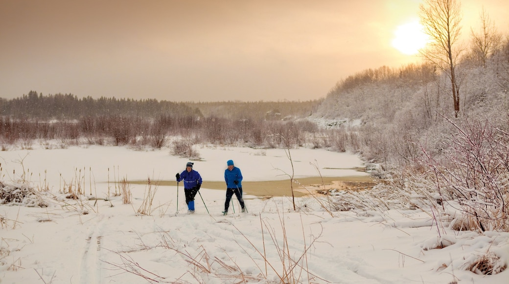 Newfoundland and Labrador which includes a sunset and snow as well as a small group of people